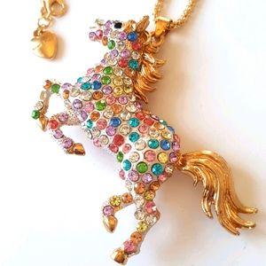 NEW BJ Multicolored Horse Necklace Pendant Chain